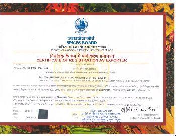 IRIS Spices Board Certificate
