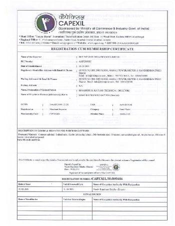 IRIS Capexil Membership Certificate