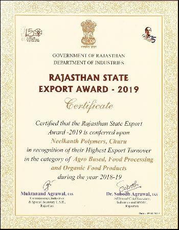 Rajasthan State Export Award 2019