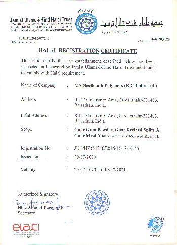 Halal Certificate 2020-21