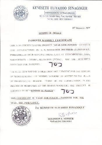 Kashrut Certificate (Passover) 2019-20