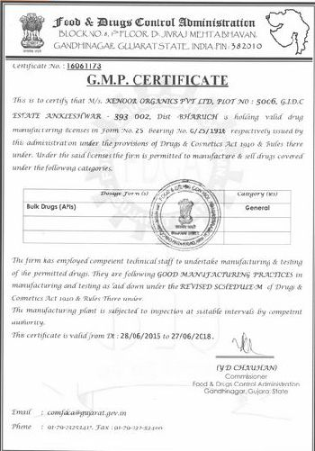 Kenoor Organics Private Limited is GMP ( Good Manufacturing Practices ) certified manufacturing facility