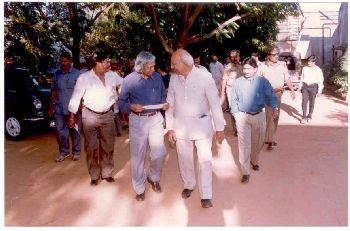 Dr. A.P.J. Kalam and Dr. K.V.C. Rao during factory visit
