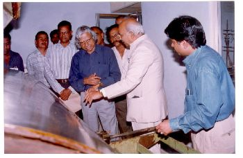 Dr. K.V.C. Rao explaining Film Casting Machine