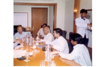 Prof. U.R. Rao Chairing the Board Meeting