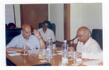 Prof. U.R. Rao former ISRO Chairman & Dr. K.V.C. Rao at the Board Meeting