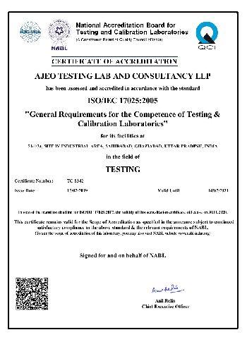 ISO/IEC 17025:2017 Certificate