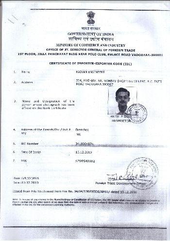 Import Export Code Certificate