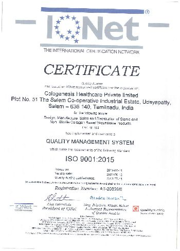 ISO 9001:2015 Certificate 01