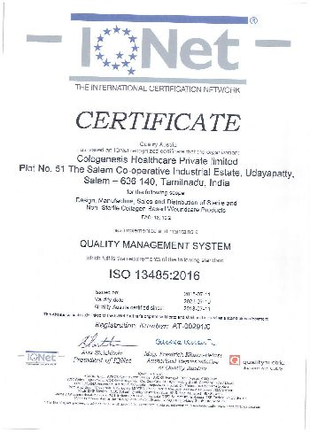 ISO 13485:2016 Certificate 01
