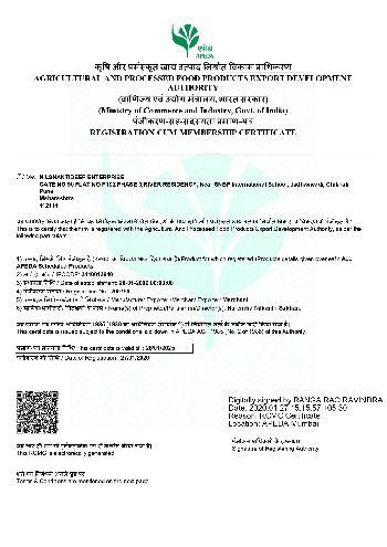 APEDA Certificate 01