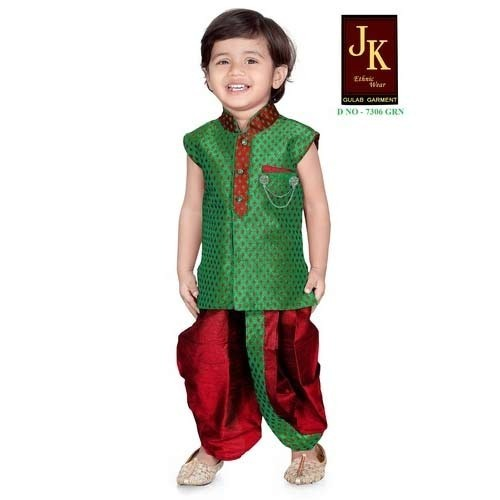 Green Kids Dhoti Suits