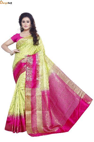 Green & Pink Jacquard Saree