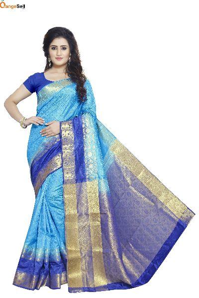 Sky Blue Jacquard Saree