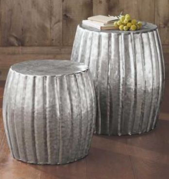 Hammered Aluminium Stool Set