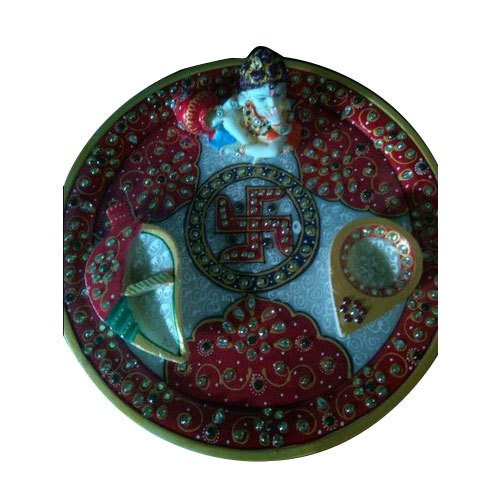 Multicolor Marble Pooja Thali