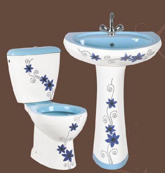 Blue Designer Pedestal Wash Basin