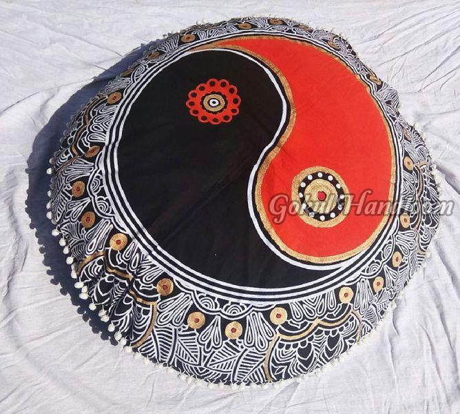Black & Orange Mandala Cushion Cover