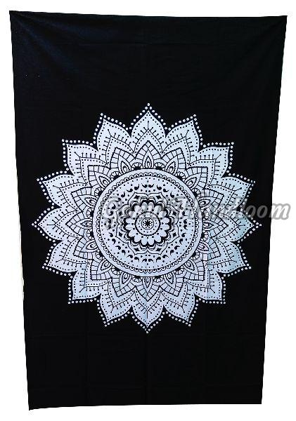 Black White Mandala Cotton Wall Hanging Tapestry