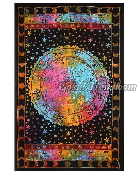 Black Zodiac Horoscope Astrology Cotton Wall Hanging Tapestry