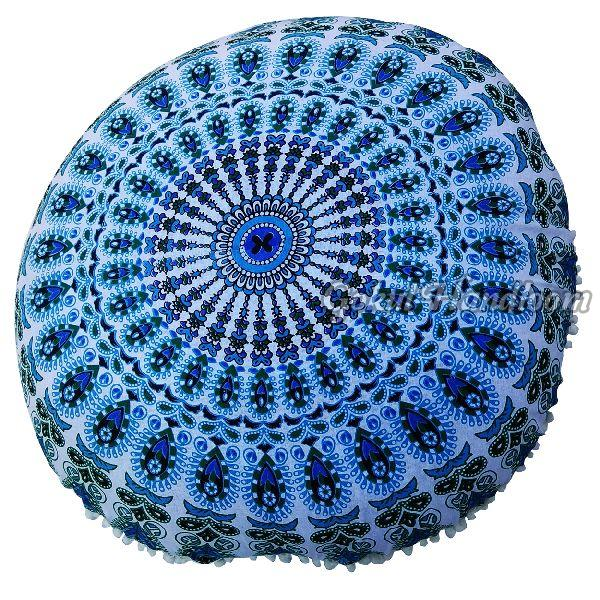 Blue Mirchi Mandala Cushion Cover