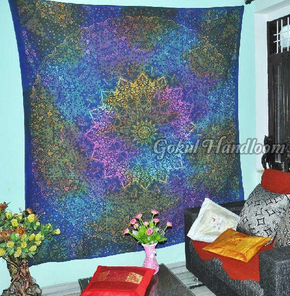 Blue Star Hippie Cotton Wall Hanging Tapestry