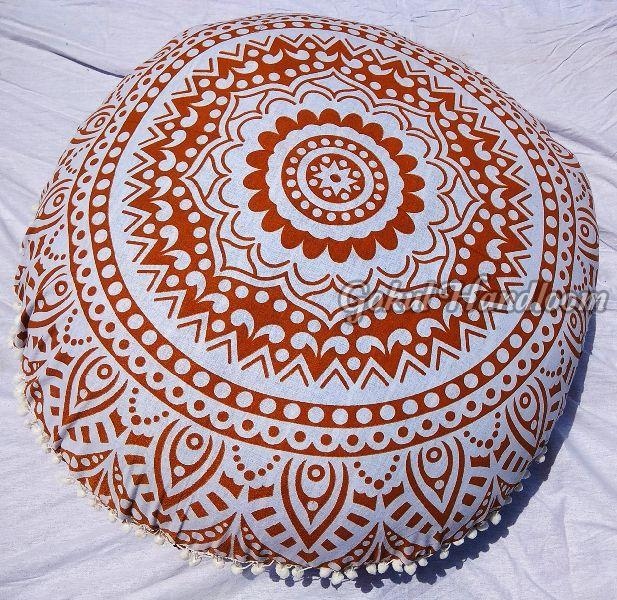 Brown & White Mandala Cushion Cover