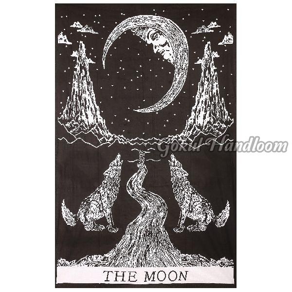 Crying Wolf of the Moon Cotton Wall Hanging Tapestry