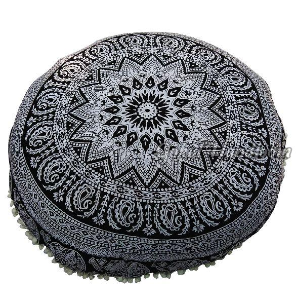 Black Elephant Mandala Cushion Cover