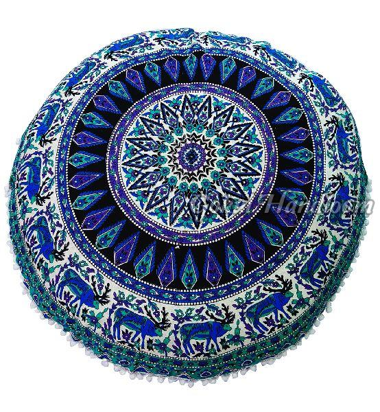 Elephant & Peacock Mandala Cushion Cover