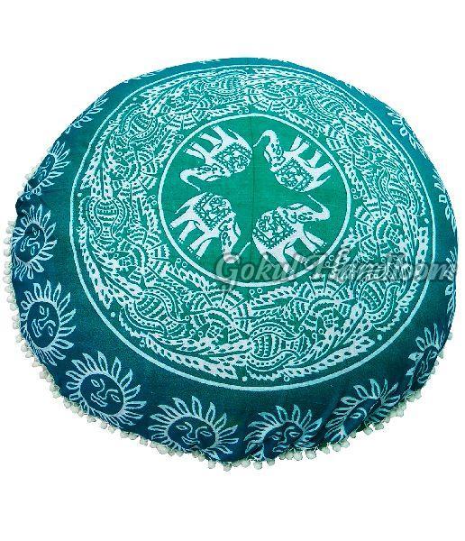 Green Elephant Mandala Cushion Cover