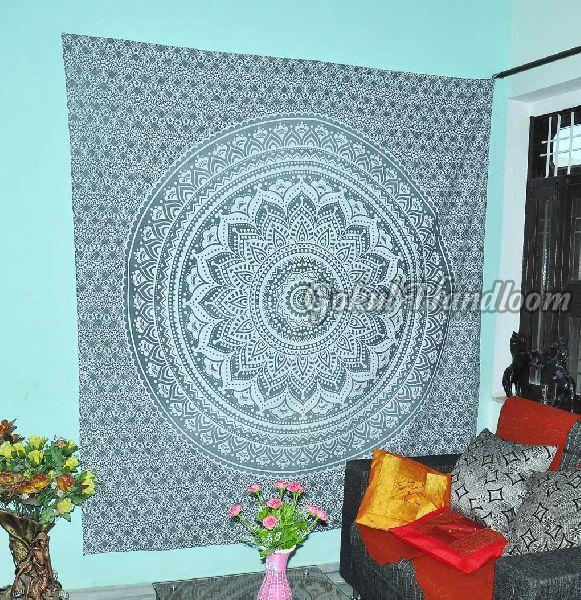 Large Silver Ombre Cotton Wall Hanging Tapestry