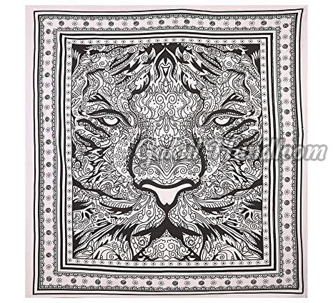 Leo Tiger Tapestry Black White Cotton Wall Hanging Tapestry