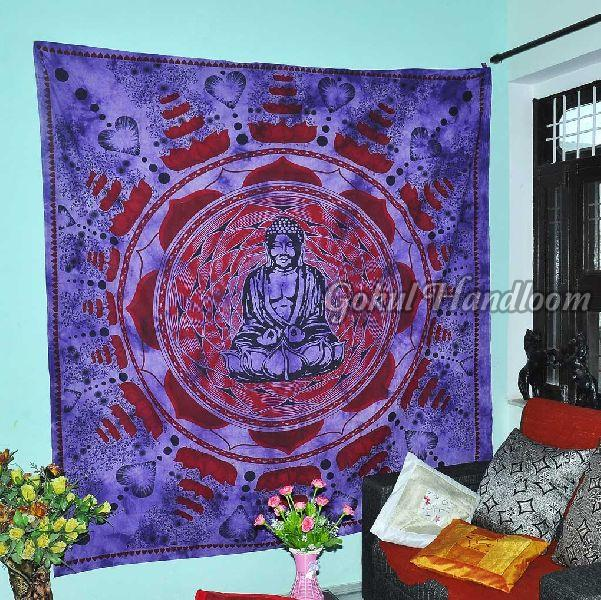 Lord Buddha Mandala Cotton Wall Hanging Tapestry