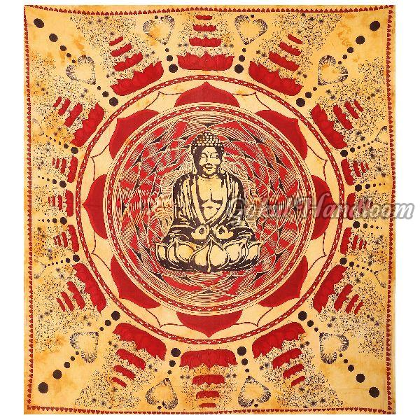 Lotus Brown Cotton Wall Hanging Tapestry