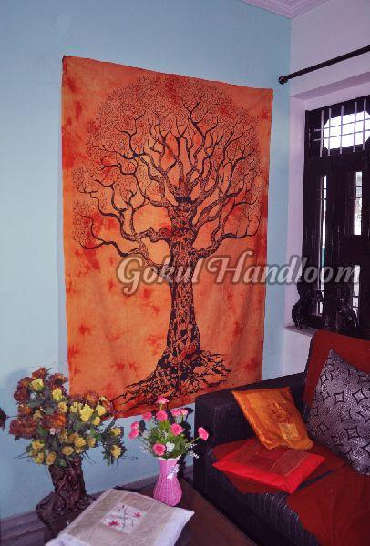 Orange Tie Dye Cotton Wall Hanging Tapestry