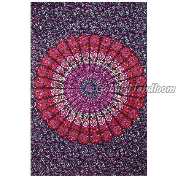 Pink Peacock Mandala Cotton Wall Hanging Tapestry