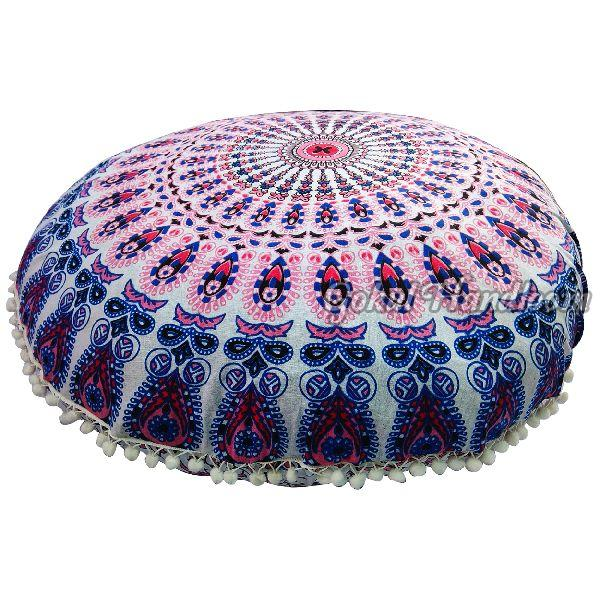 Pink Blue Mirchi Mandala Cushion Cover