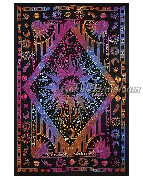 Purple Burning Sun Cotton Wall Hanging Tapestry