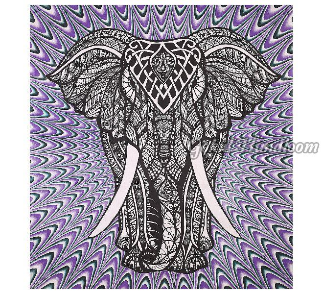 Purple Elephant Cotton Wall Hanging Tapestry