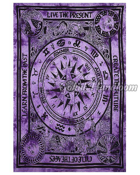 Purple Sun Moon Cotton Wall Hanging Tapestry