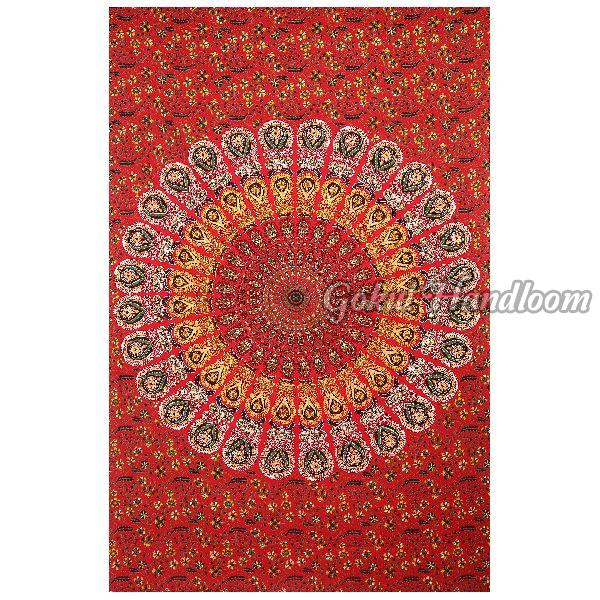 Red Peacock Cotton Wall Hanging Tapestry