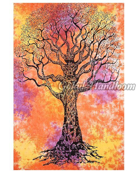 Tie Dye Tree Cotton Wall Hanging Tapestry