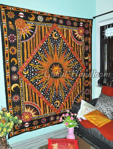 Celestial Sun Moon Stars Cotton Wall Hanging Tapestry