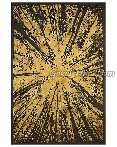 Yellow Tie Dye Locust Tree Cotton Wall Hanging Tapestry