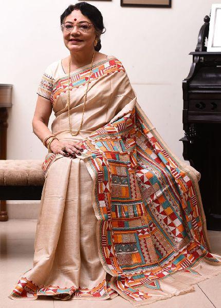 Pure Gachi Tussar Silk Saree with Santiniketan Kantha