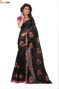 Black Cotton Silk Saree