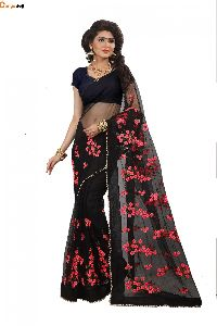 Black Net Saree