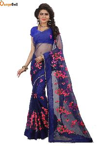 Dark Blue Net Saree