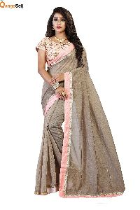 Grey Cotton Silk Saree